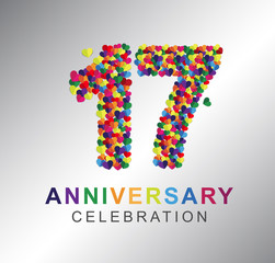 Number seventeen, 17th years made from multicolor hearts. Love alphabet. anniversary, aniversary, seventeen years anniversary celebration logotype. 17th anniversary logo. seventeen years.