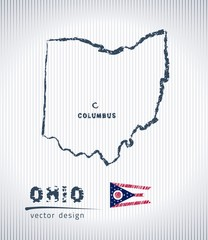 Ohio vector chalk drawing map isolated on a white background