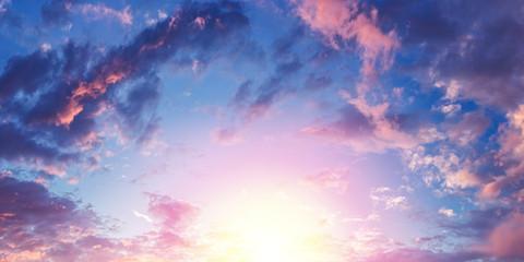 Panorama of beautiful evening cloudy sky. Nature background.