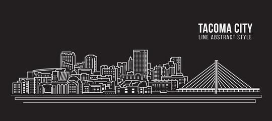 Cityscape Building Line art Vector Illustration design - Tacoma city