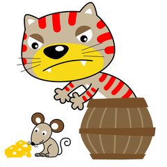 Cartoon of nice cat and little mouse