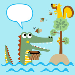 cartoon of crocodile and friend
