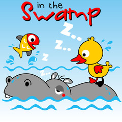 Cartoon of hippo and friends in the swamp
