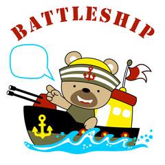 Nice sailor cartoon on gunboat