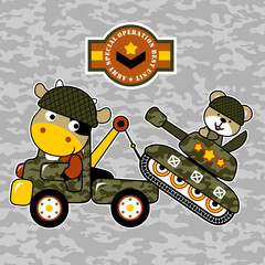 Military vehicles cartoon with funny animals