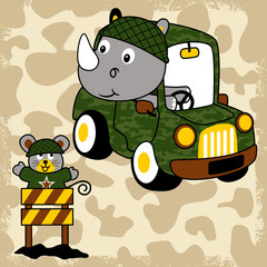 Funny troops with military car on camouflage background