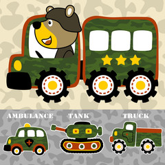 military vehicles cartoon with funny animal