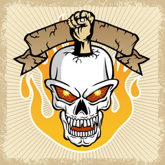 vector of skull and fist with flame on grunge frame