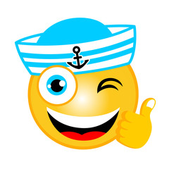 vector cartoon of sailor emoticon with thumb up