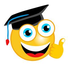 vector cartoon of scholar emoticon with thumb up