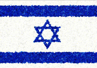 Illustration of an Israeli flag with a blossom pattern