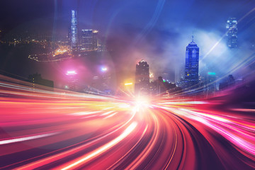 Motion speed effect with Hong Kong cityscape on background