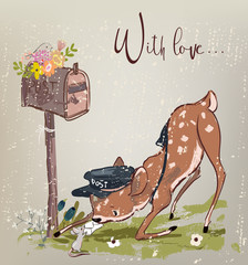 cute fawn and mouse with letter
