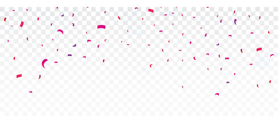 Celebration Banner with Colorful confetti, isolated on transparent background