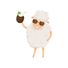 Funny humanized sheep holding summer cocktail in coconut shell. Cartoon animal character in stylish sunglasses. Flat vector design for poster, banner or print