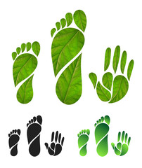 Set of green carbon foot print concept. Silhouette of feet and hands of leaves. Vector illustration. Isolated on white background