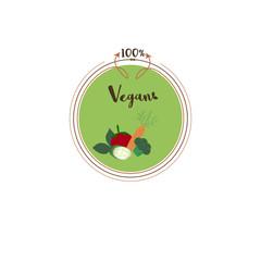 Vector round eco, bio green logo or sign. Salad, cucumber, tomato, carrots, broccoli. Vector illustration. Organic design template.