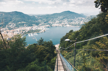 Spectacular viewpoint of Lake Como from the funicular - Brunate, Como, Italy - Lombardys