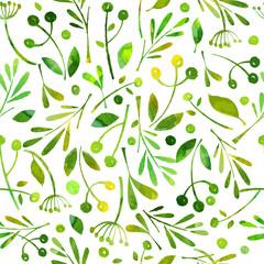 Seamless pattern watercolor green herbals.