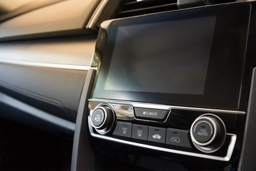 car monitor display by touch screen with air conditional and radio bottons
