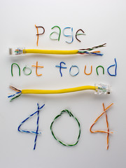 Error page 404, page not found, broken twisted pair
