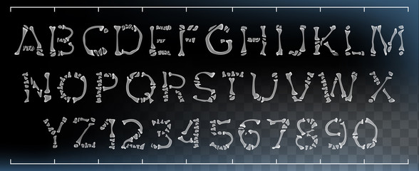 Bone Font Vector. Made Out Of Transparent Bones. Monster Horrible Font. Capitals Letters And Numbers. Anatomy Pirate Style. Isolated Transparent Illustration