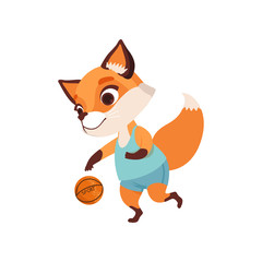 Cute fox character playing basketball, funny forest animal vector Illustration on a white background