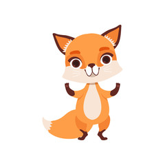 Cute fox character standing, funny forest animal vector Illustration on a white background