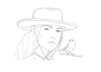 Cowboy girl with hat and bird, Fashion illustration line drawing