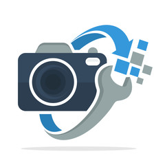 logo icon with the concept of camera repair