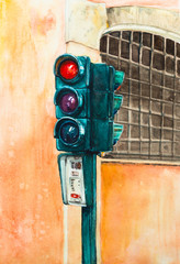 Roman traffic light against the backdrop of a Roman house or prison. Window with a lattice. Watercolor sketch.