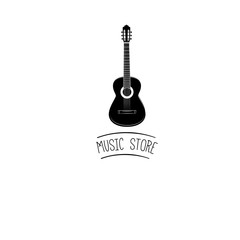 Guitar icon. Acoustic musical instrument sign. Vector illustration.