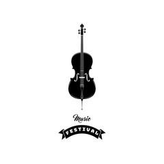 Violin icon. Music symbol. Music festival text. Vector illustration.