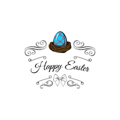 Easter blue egg in a nest decorated with swirls, bow and ornate frames. Vector illustration.