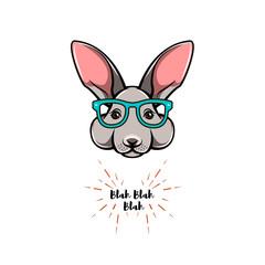 Portrait of rabbit in glasses. Smart bunny. Hare geek. Vector illustration.