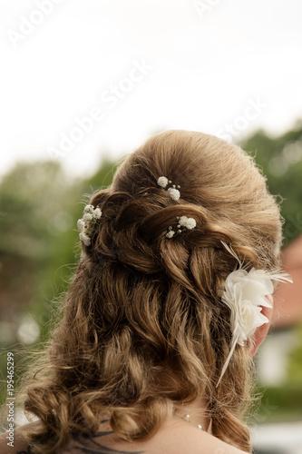 Braut Mit Boho Hochsteckfrisur Und Schleierkraut Stock Photo And