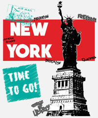 Typography slogan with statue of liberty, vector for t shirt printing and embroidery, Graphic tee and printed tee