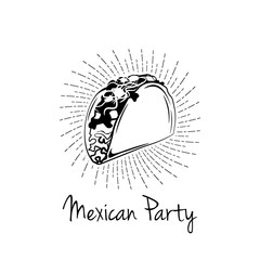 Taco in beams. Mexico Food. Traditional Mexican Cuisine. .