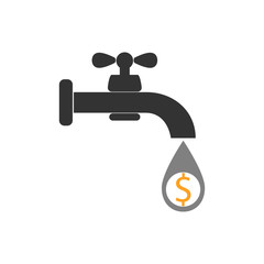 Faucet icon, money sign - dollar. water tap sign. Vector illustration. Flat design.