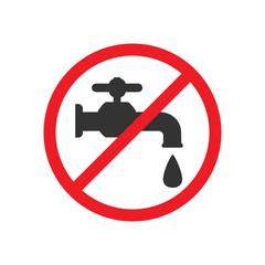 Do not drink water. Faucet icon, water tap sign. Vector illustration. Flat design.