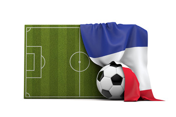France country flag draped over a football soccer pitch and ball. 3D Rendering