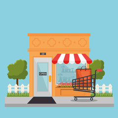 store building front with shopping cart vector illustration design