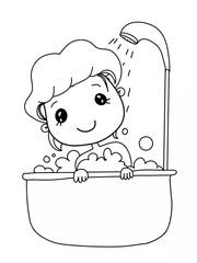 cartoon cute bathing child girl drawing
