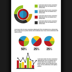 set of business infographics elements with different statistical graphs and charts vector illustration