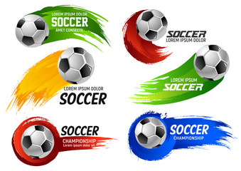 Vector soccer football ball sport game emblems