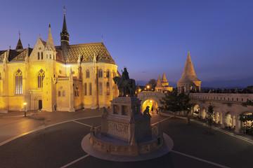 Equestrian statue of King Stephen I, Matthias Church, Fisherman's Bastion, Budapest, Hungary, Europe