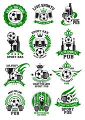 Vector soccer sport bar football pub icons set