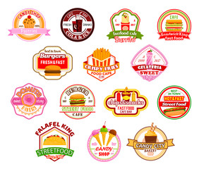 Vector fast food restaurant cafe icons