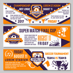 Vector soccer game football championship banners