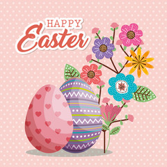 eggs painted and flowers happy easter card vector illustration design